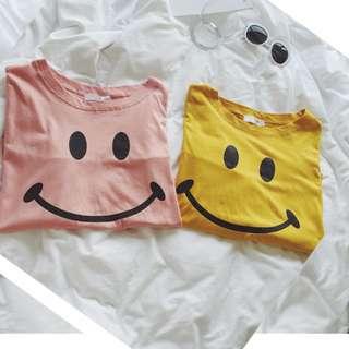 0463-長袖t恤女新款秋裝韓版笑臉印花寬松學生上衣服百搭大碼打底衫