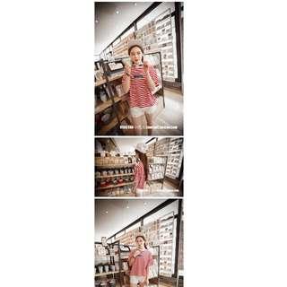 0465-新款韓版學院風打底衫字母印花上衣條紋寬松短袖T恤女潮