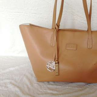 BCBG Beige Leather Tote Bag