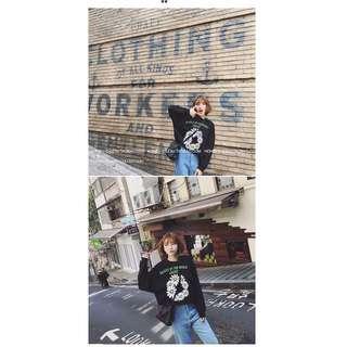 0504-秋裝新款韓版長袖T恤學生套頭衛衣女寬松印花秋季打底衫圓領上衣