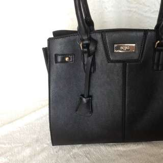 BCBG Black Leather Tote Bag