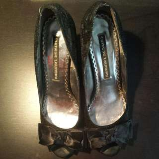 Lace Black Size 9 High Heels With A Bow