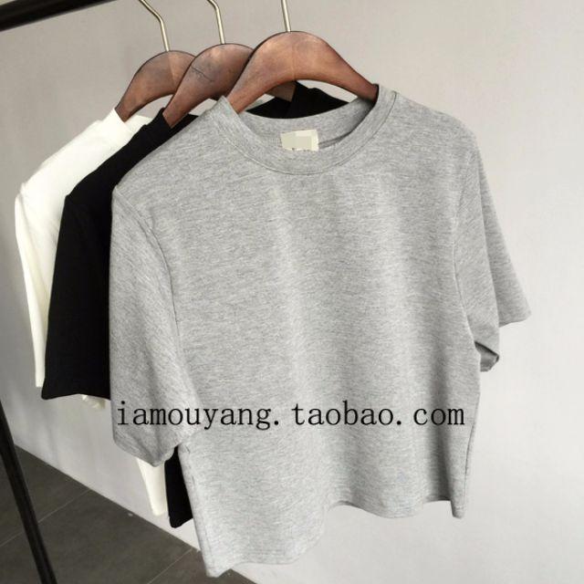 0462-新款韩版基本款修身显瘦简约百搭短款半高领棉质纯色T恤