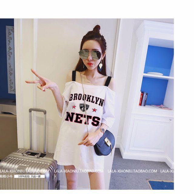 0467-新款韓版簡約時尚印花字母寬松中長款露肩吊帶五分袖T恤女潮
