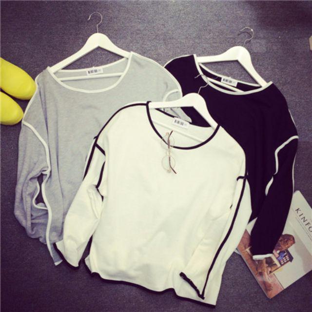 0534-韓版女裝圓領上衣學生簡約拼色百搭顯瘦寬松長袖T恤女打底衫