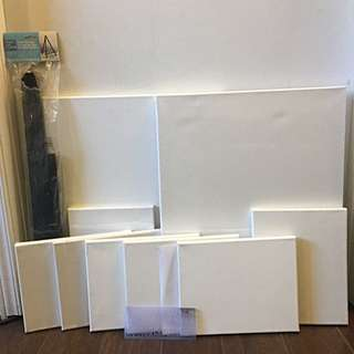 Blank Canvases , Easel And Stencil