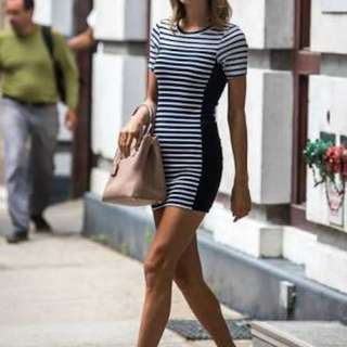 TOPSHOP Striped Bodycon Dress white/navy
