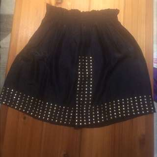 Shimmery Black Skirt With Gold Accents