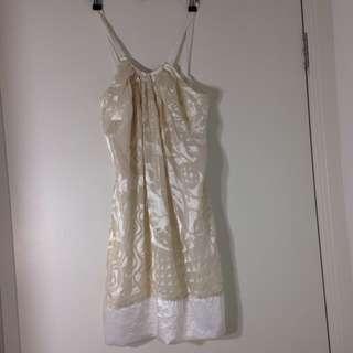 Size 8 Cooper St Ivory Gold Dress