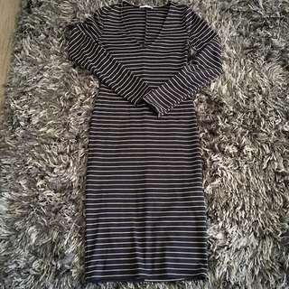 Zara Dark Navy Striped Dress