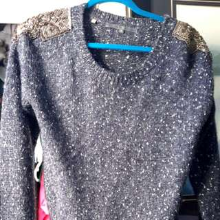 GUESS Wool Sweater With Beading On Shoulders