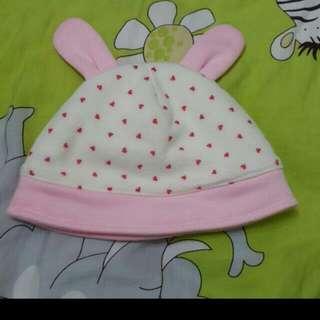 🚚 紅色 愛心 兔兔 耳朵 刷毛 寶寶 帽子