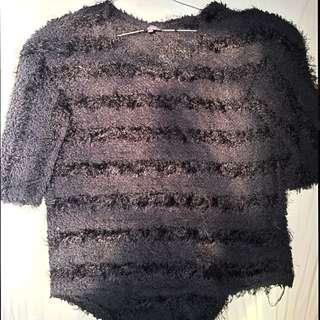 Fluffy Black Knit Jumper- Size S-M