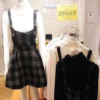 【Further Mark Down for Clearance!】Titty&co Black&White Checkers Suspenders Skirts