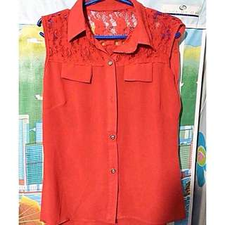 Red Laced Sleeveless Blouse