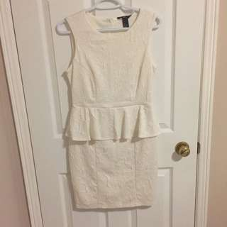 H&M Cream Dress With Embossed Pattern