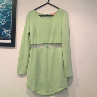 Pastel Green Dress With Sheer Panel