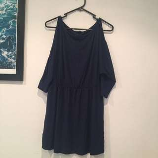 Navy Size L Comfy Dress With Sleeve Details