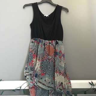 Asymmetric Black And Patterned Dress Size M