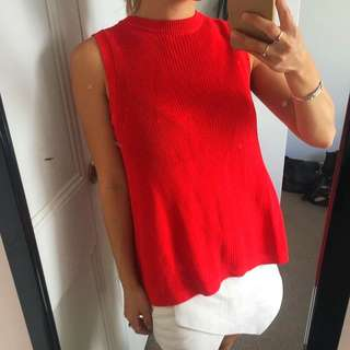 Cue - Red, High Neck Knit,Sleeveless