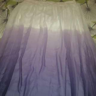 white and purple gradient maxi skirt