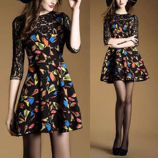 Fractal Colourful Multicolor Origami Fragment Shapes Lace Crochet Black Raglan Dress - Code H629