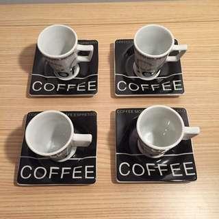 Espresso Cup & Saucer Set For 4; Colour - Black, White, Gray & Red