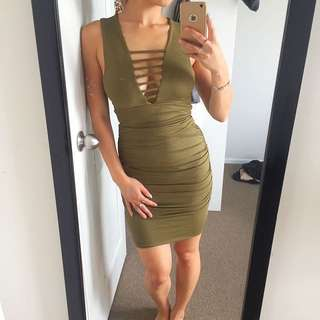 Olive Green Top And Skirt Set