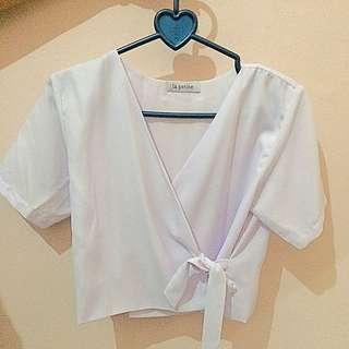 White Kimono Crop Top