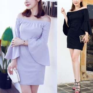 Flare Sleeve Off Shoulder Boat Neck Minimalist Vogue Style Elegant Dress ( Grey Gray . Black ) - Code H631