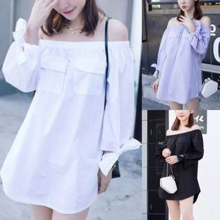 Boat Neck Off Shoulder Ribbon Bow Tie Sweet Sleeve Pocket Deco Minimalist Shift Dress ( light purple . White . Black ) - Code H632