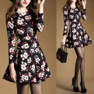 Floral Dark Flower Elegant Long Sleeve Dress - Code H633
