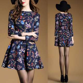 Floral Flower Decal Elegant Dark Sweet Dress - Code H634