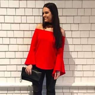 Sportsgirl Red Off Shoulder Top