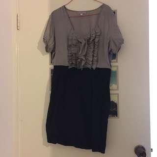 Temt Grey/Black Frilled Dress (size 14)