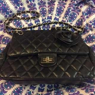 Black Flower Chain Bag