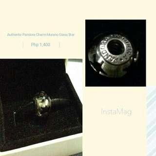 Authentic Pandora Charm  Murano Black Star Charm