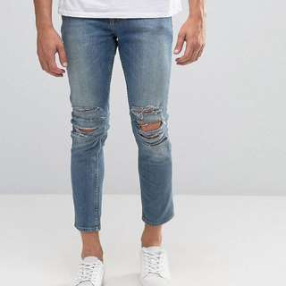 ASOS Extreme Knee Rip Skinny Cropped Jeans