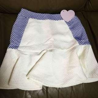 Love Bonito Blue & White Skirt
