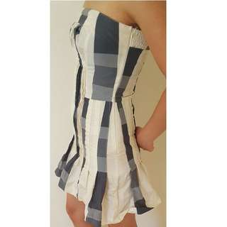 New Blue and White Checked Dress Size Medium