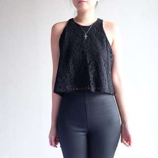 The Editor's Market - Black Lace Crop Top Size S