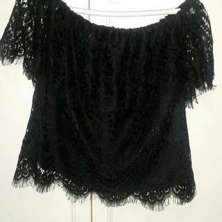 Navy Lace Seed Top