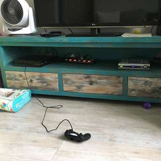 TV Console Turquoise + White wash (Solid Teakwood)