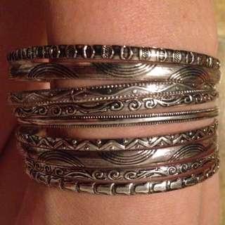 9 Silver Bangles