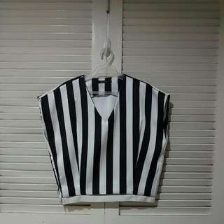 Striped Black and White Top