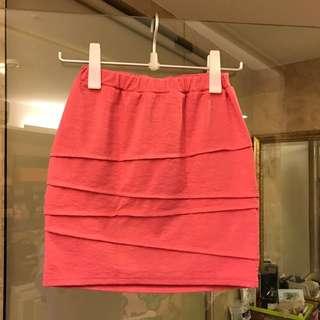 日本購正韓貨 桃粉色喜氣滿滿窄裙