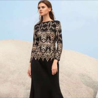 ZALIA Black & Gold Poplook Dress