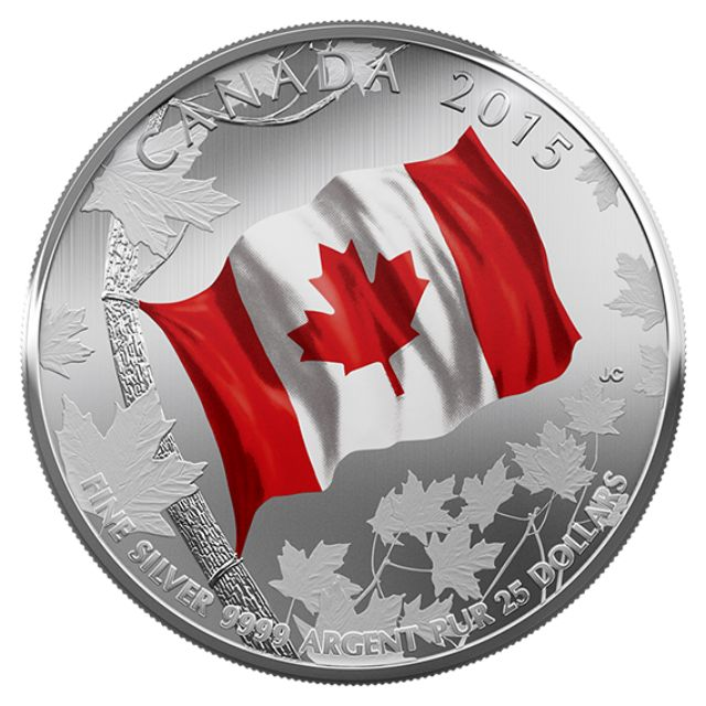 $25 Fine Silver Coin – 50'th Anniversary of the Canadian Flag (2015)