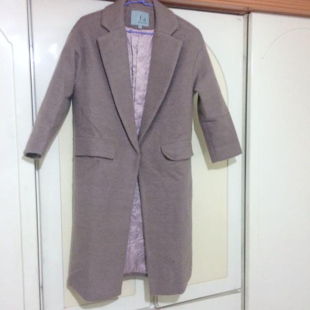 70%手工羊毛大衣 藕灰