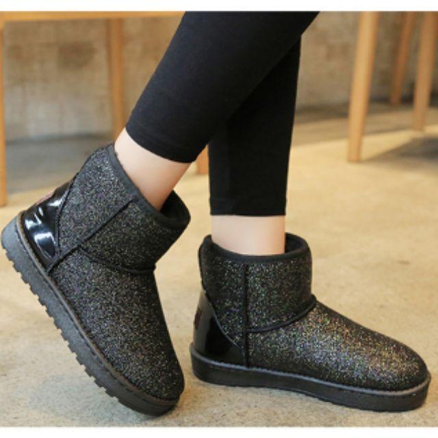 新款冬季中筒亮片雪地靴女加厚短靴厚底短筒保暖棉鞋子女鞋
